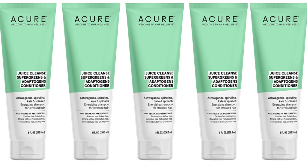 multiple bottles of acure conditioner lined up