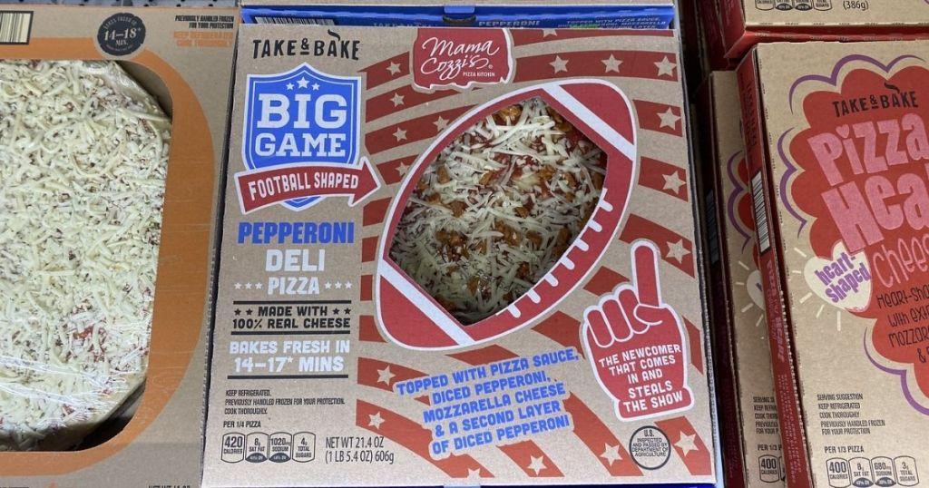 ALDI Pepperoni Football Pizza in the refrigerator case