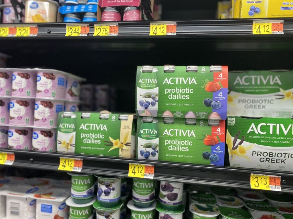 cooler section at Walmart with yogurt