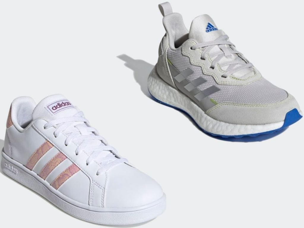 two Adidas kids sneakers