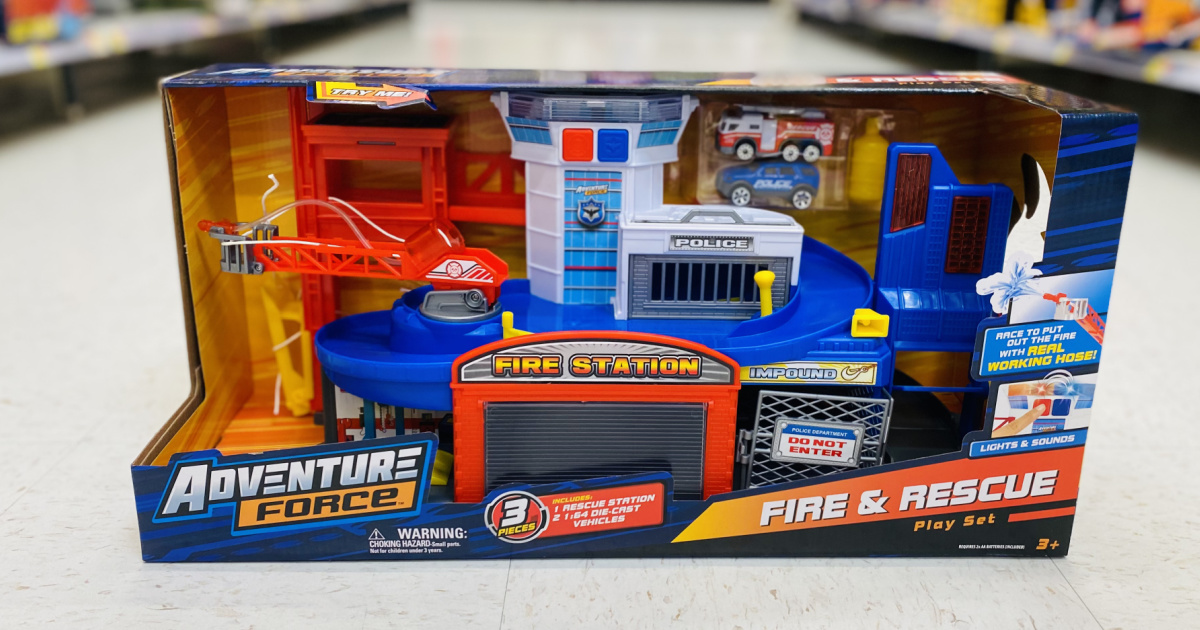 Adventure Force Fire & Rescue Station Playset on floor at walmart