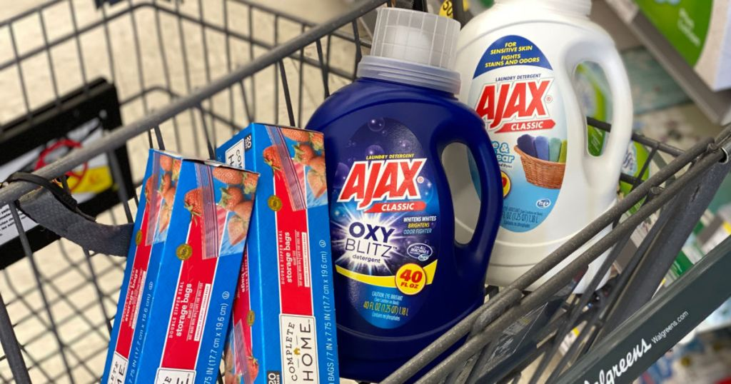 laundry detergent and storage bags in cart