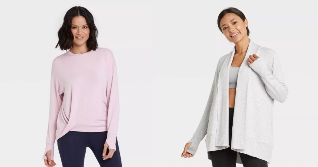 ladies wearing All In Motion Knot Front Pullover and Cardigan