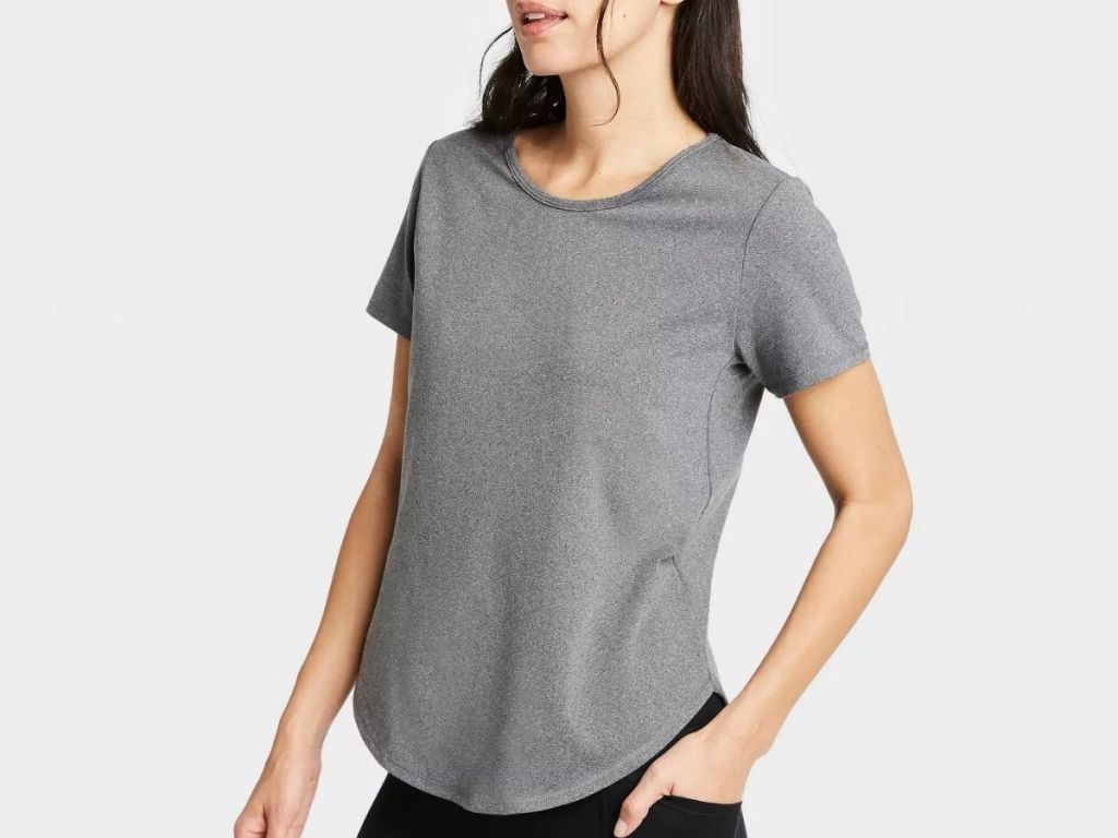 lady wearing gray All In Motion Short Sleeve Tshirt