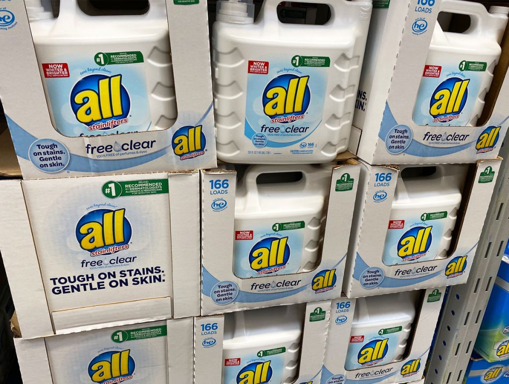 large white bottles of all laundry detergent at sams club