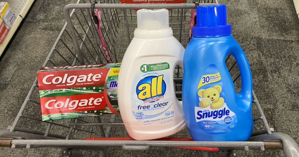laundry detergent and toothpaste in cart