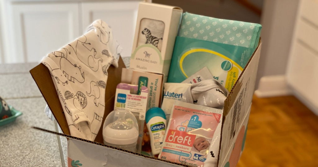 Amazon Baby Box filled with Baby Products