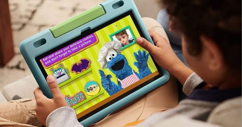 kid watching on a tablet
