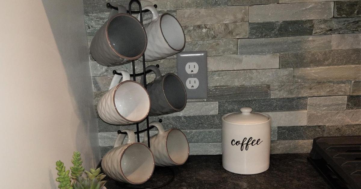 Mug set with stand on counter top
