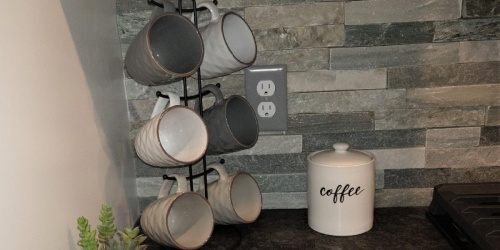Tahitian Waves Coffee Mugs 6-Count Set w/ Metal Stand Just $18 on HomeDepot.com