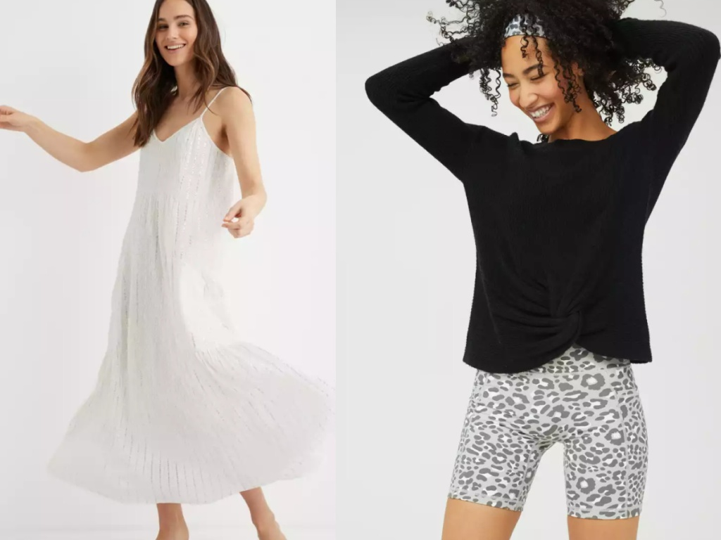 woman wearing white aerie dress and black aerie sweater