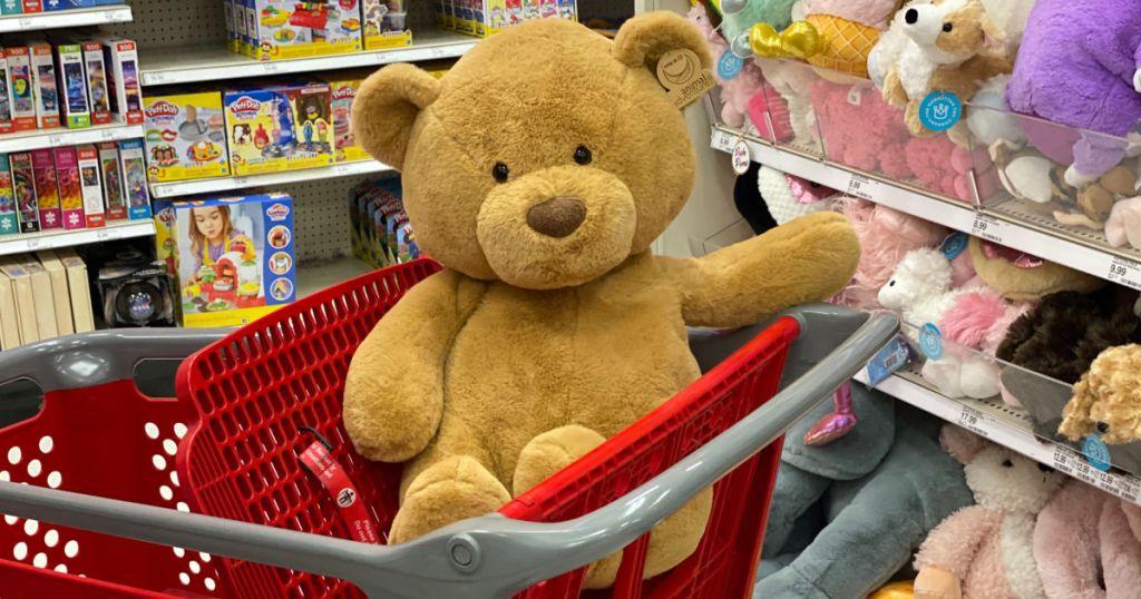 large brown bear on cart