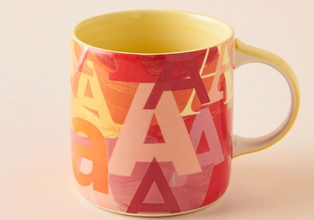 mug with the letter A all over