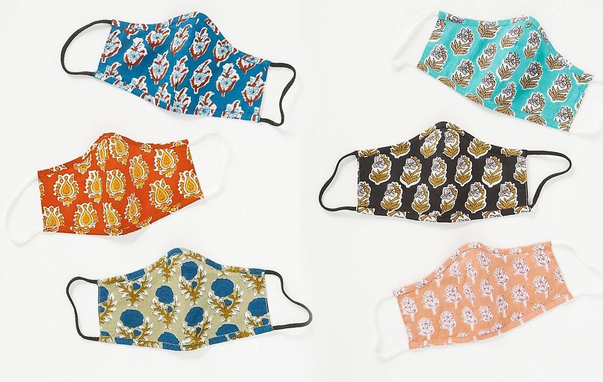 six floral reusable face masks