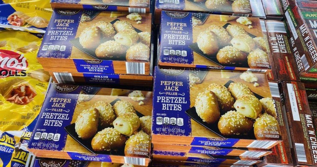Boxes of Appetitos Pepper Jack Pretzel Bites in case