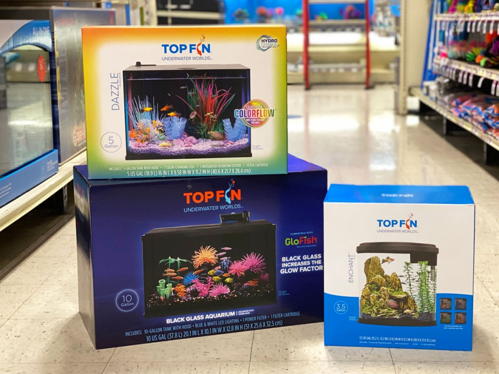 aquarium tanks in boxes stacked on one another at petsmart