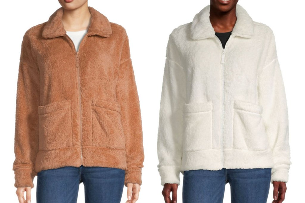 two women modeling zip-up sherpa jackets in brown and white colors