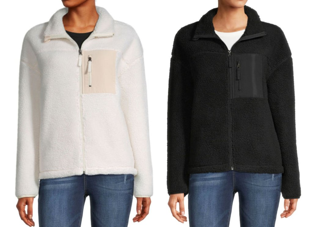 two women modeling zip-up sherpa jackets in white and black colors