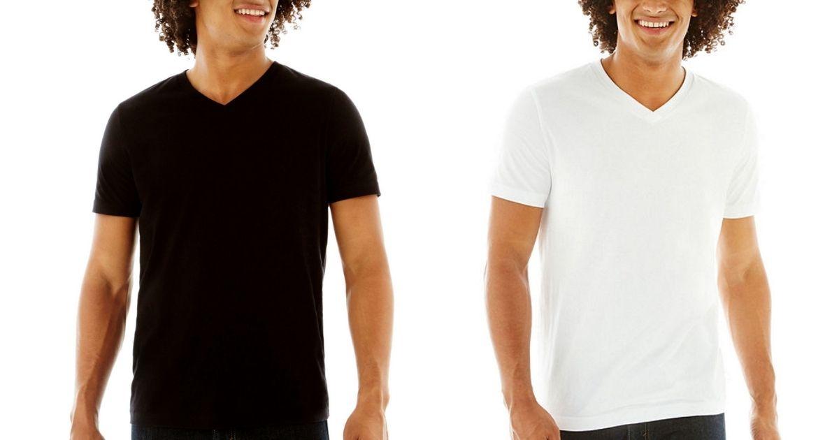 black and white Arizona Men's V-neck Tee Shirts