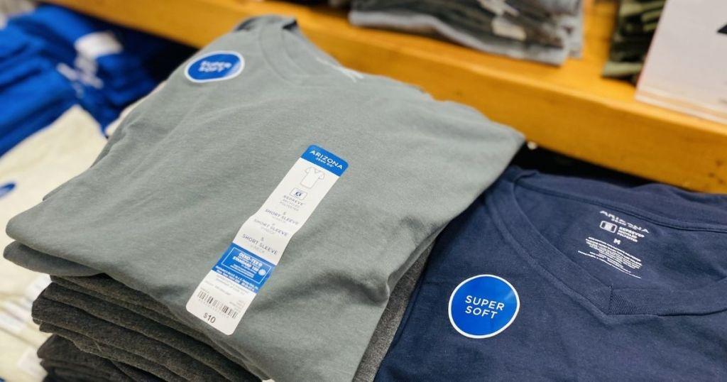 gray and blue Arizona Men's V-neck Tee Shirts on display