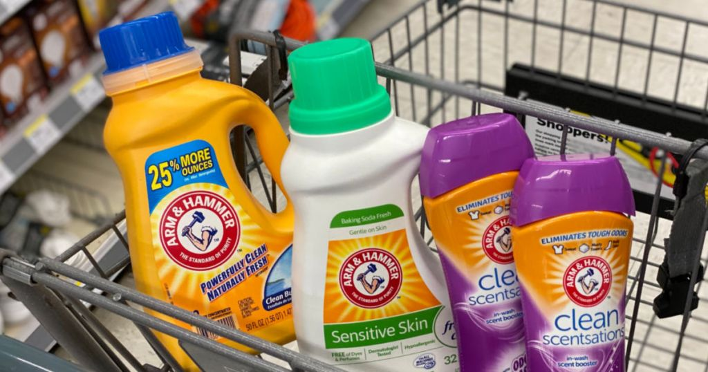laundry detergent and fabric refresher in cart