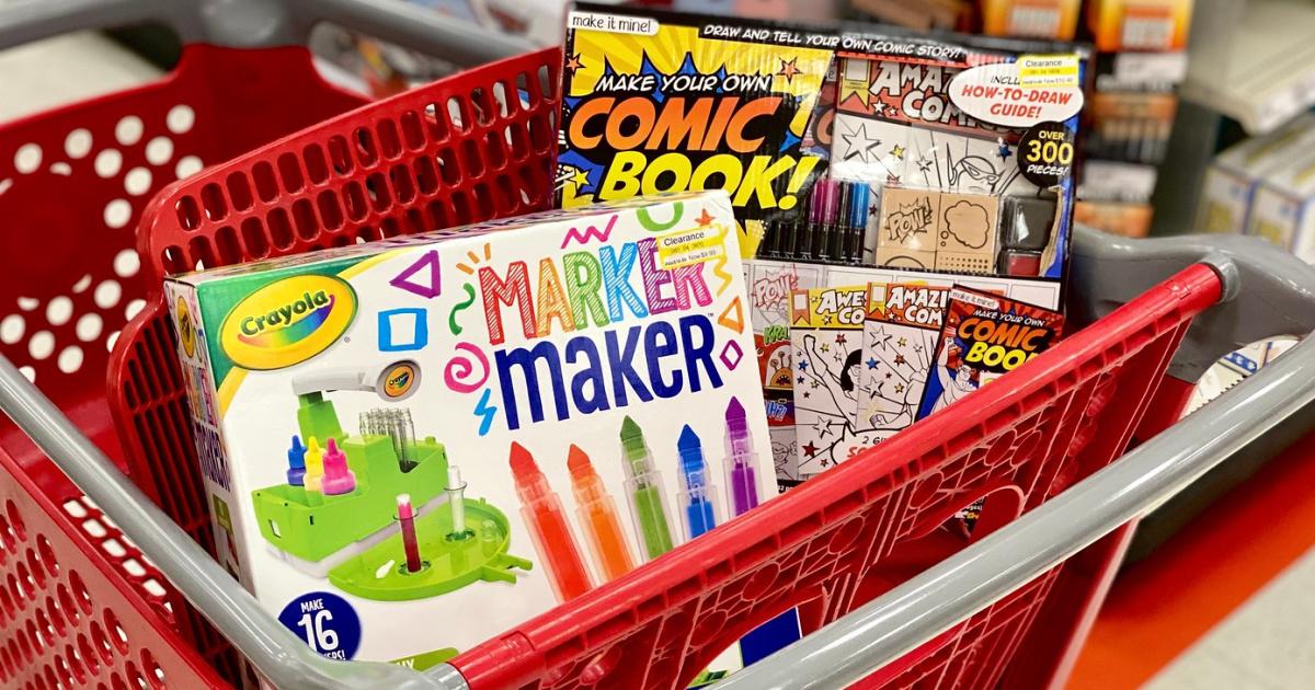 target cart with a crayola art set and diy comic book set