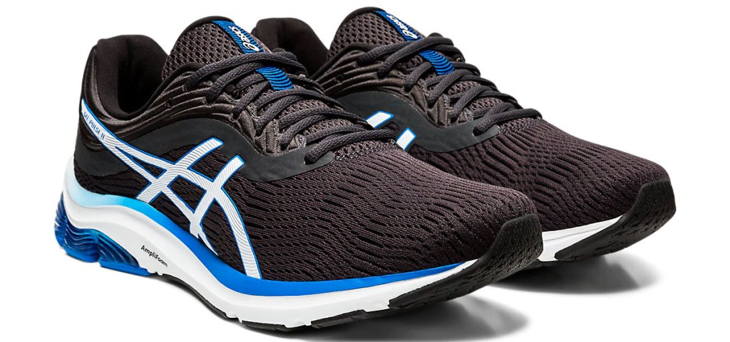 pair of blue asics mesh running shoes with white and blue details