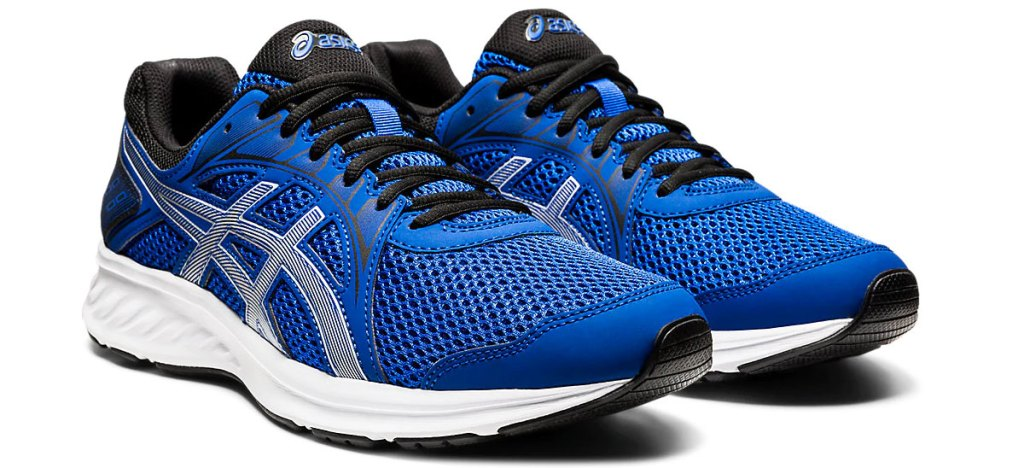 pair of blue asics mesh running shoes with white and black details