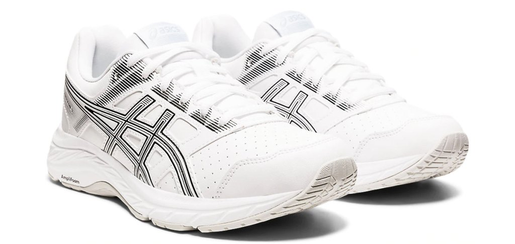 pair of white asics mesh running shoes with grey details
