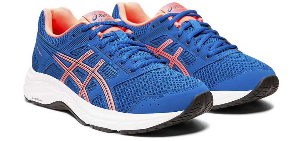pair of blue asics mesh running shoes with orange details