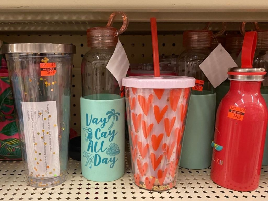 Assorted Tumblers on shelf at Hobby Lobby