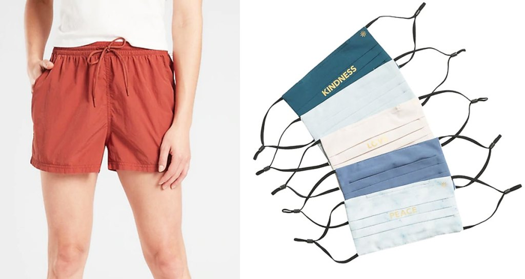 woman modeling red shorts with tie waist and set of 5 blue and white reusable face masks