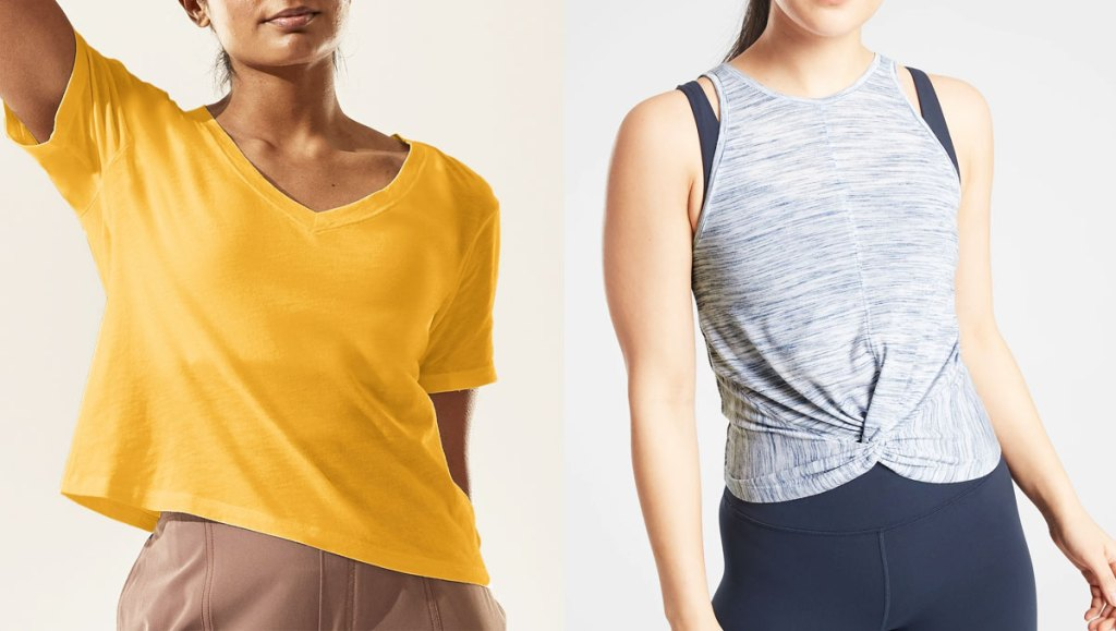 woman in yellow t-shirt and woman in light blue tank with twist detail at bottom