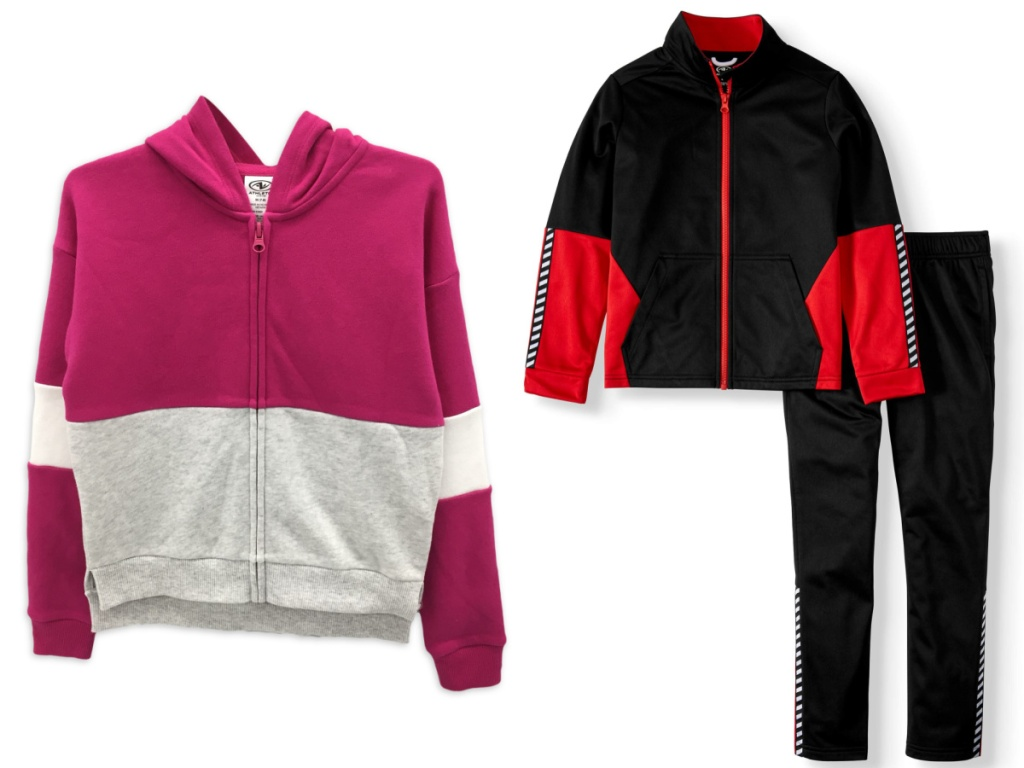 Athletic Works Girls Colorblock Fleece Zip-Up Hoodie and Boys Athletic Tracksuit Tricot 2-Piece Set