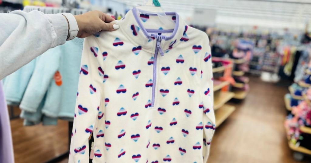 Athletic Works Girls Printed 1/4 Zip Micro Polar Fleece Pullover