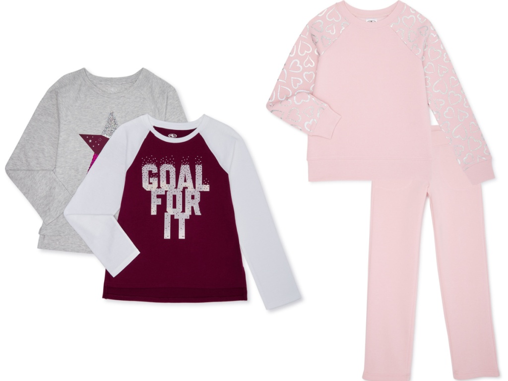 Athletic Works girls Long Sleeve Graphic 2-Pack T-Shirts and Girls Core Fleece Foil Sleeve Sweatshirt and Sweatpants Set