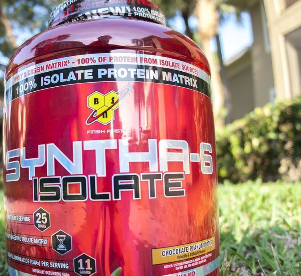 BSN Syntha-6 Isolate powder container