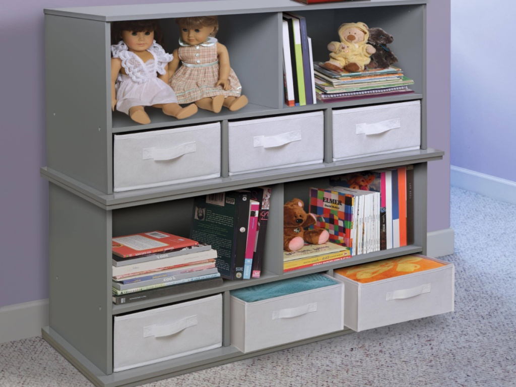 3 Badger Basket Shelf Storage Cubby stacked on top of each other
