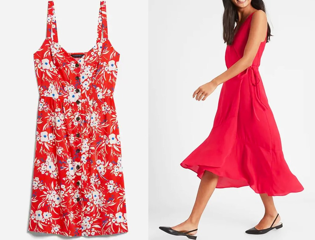 red floral print button-down dress and woman in a red flowy dress