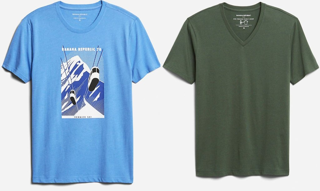 men's blue graphic tee and olive green v-neck tee