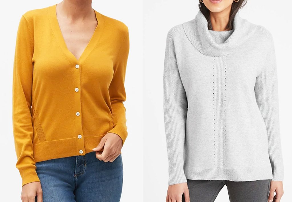 woman in yellow cardigan and woman in light grey cowl-neck sweater
