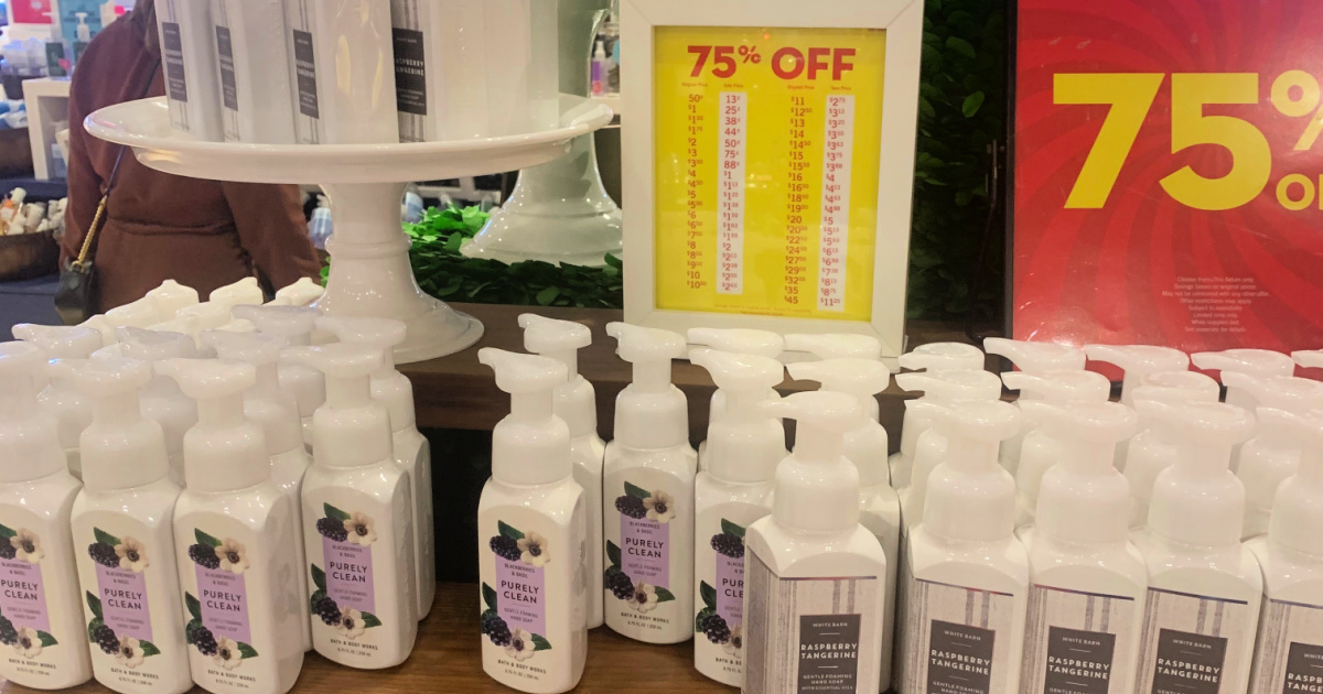 Bath and Bodyworks hand soap with a 75% off sign