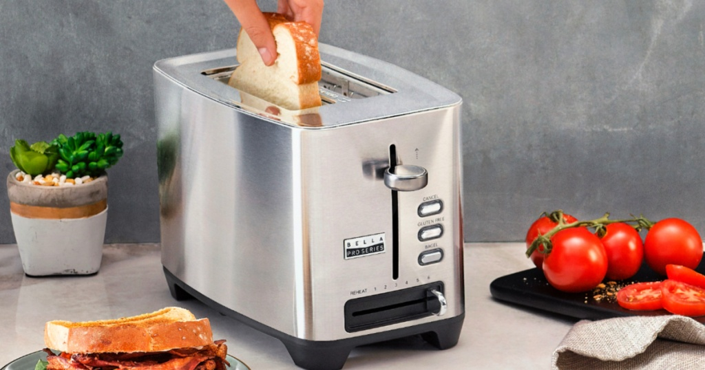 Bella Pro Series 2-Slice Extra-Wide Slot Toaster in Stainless Steel