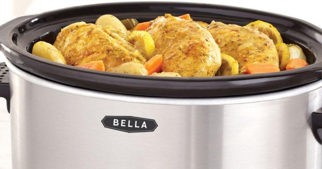 Bella slow cooker filled with pork chops and vegetables