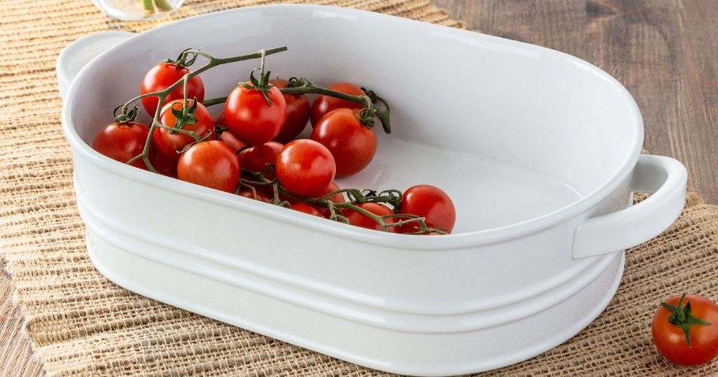 porcelain baking dish with tomatoes in it