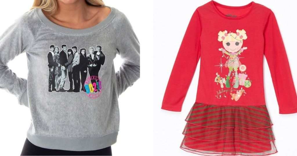 woman wearing a Beverly Hills sweatshirt and a Lalaloopsy nightgown stock image next to her