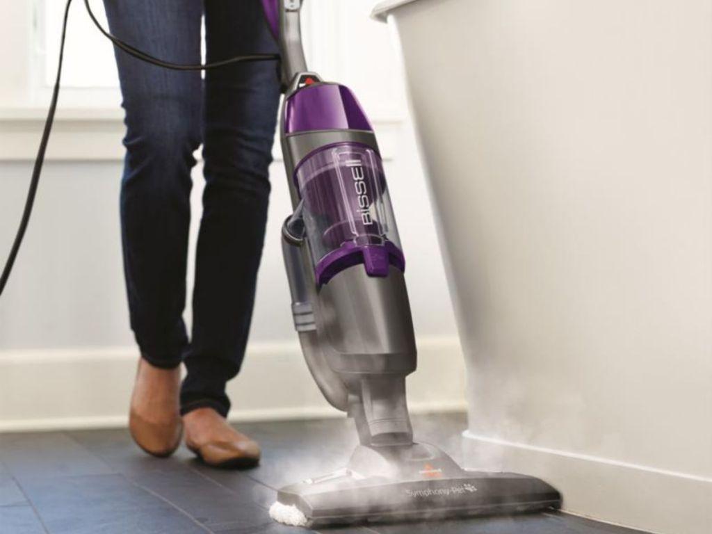 woman using Bessel steam mop