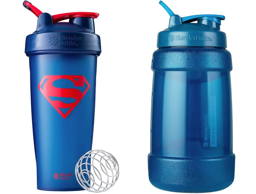 blue blenderbottle with red superman logo and blue blenderbottle brand large water bottle