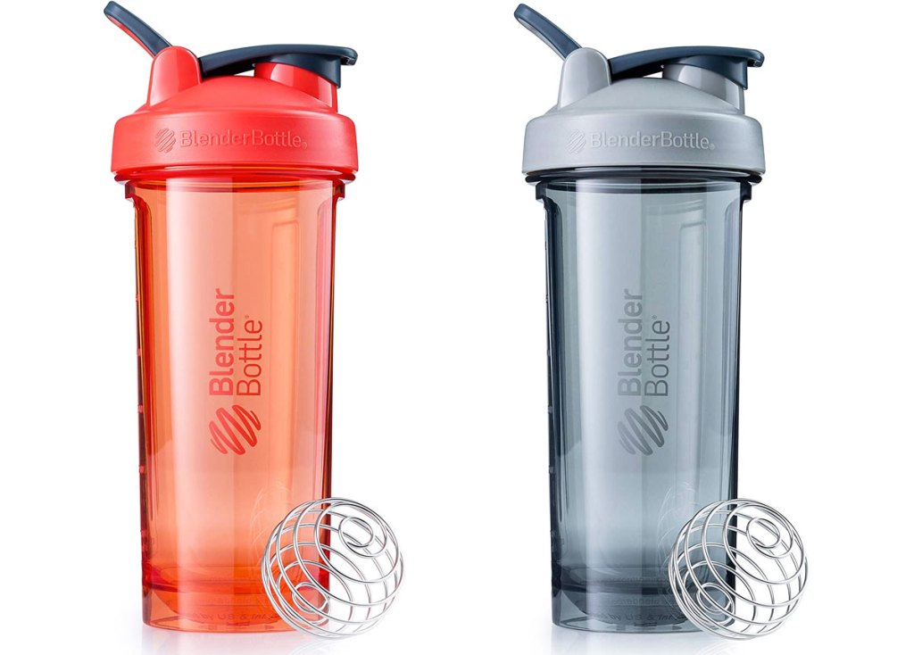 two blenderbottles in orange and grey colors with wire ball wisks