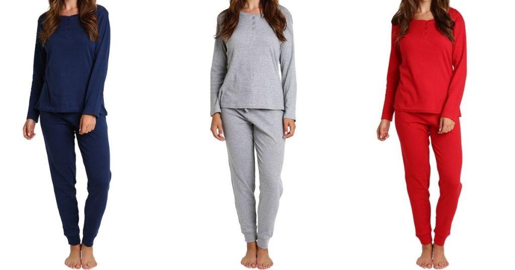 three women wearing pajamas
